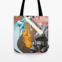 superheros Tote Bags featuring SuperHeros SF by Timo Hanley