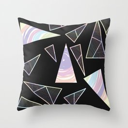 Abstract Artwork Pattern of Color Triangles on a Black Background Style #04 Throw Pillow