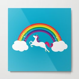 Unicorn Rainbow in the Sky Metal Print