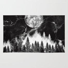 marble black and white landscape Rug