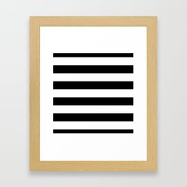 Midnight Black and White Horizontal Cabana Tent Stripes Framed Art Print