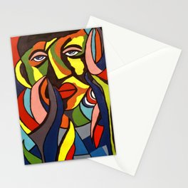 African Traditional Tribal Women Abstract Art Canvas Painting Series - 3 Stationery Cards