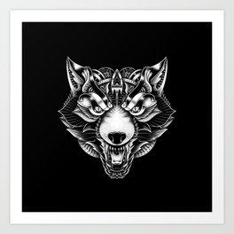 Angry Wolf Ornate Art Print