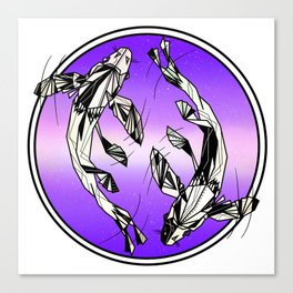 Pisces fish geometric zodiac sign Canvas Print