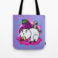 bee and puppycat Tote Bags featuring A Chubby Puppycat by Kristin Frenzel