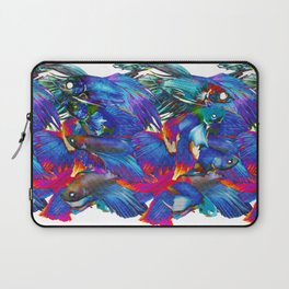 FIGHTING FISHES BETTA - Animals | Psychedelic | 70's | Abstract | Pop | Surrealism | Nature Laptop Sleeve