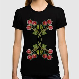 Embroidered Scandi Flowers T-shirt