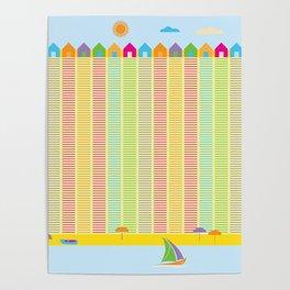 Beach cabins pattern stripes Poster