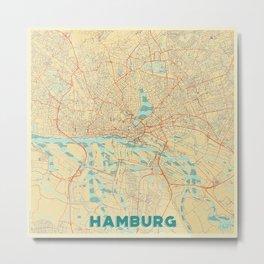 Hamburg Map Retro Metal Print