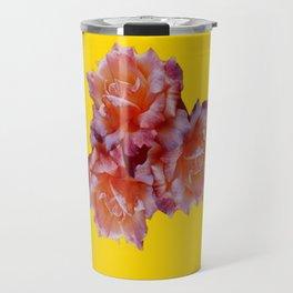 Pink & Yellow Antique Rose flowers Pattern Floral Art Travel Mug