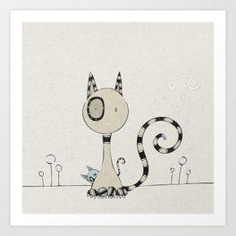 Shy Cats, plain Art Print