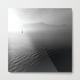 black and whit sail water Metal Print