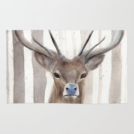 Deer in Winter Forest Rug