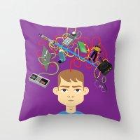 nerd Throw Pillows featuring Nerd by Mouki K. Butt