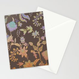 Chateau Brown Chinoiserie Decorative Floral Motif Chintz Stationery Cards