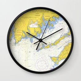Vintage Buzzards Bay, Vineyard Sound and Coastal RI Map Wall Clock