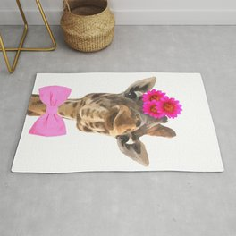 Giraffe funny animal illustration Rug