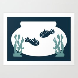 Two friendly fish together in a bowl - graphic Art Print