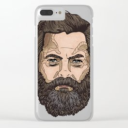 The Face Of Nick Offerman Clear iPhone Case