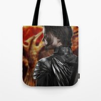 katniss Tote Bags featuring Katniss by MetaWorks