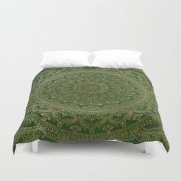 Mandala Royal - Green and Gold Duvet Cover