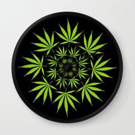 Cannabis Leaf Circle (Black) Wall Clock