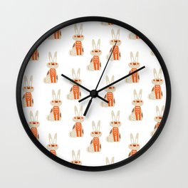 Cute funny hand drawn orange brown vector rabbit pattern Wall Clock