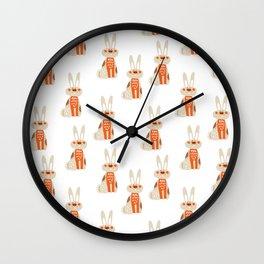 Cute funny hand drawn orange brown vector rabbit pattern Wall Clock