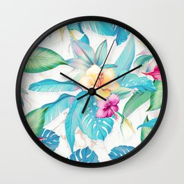 Blue tropical flowers Wall Clock
