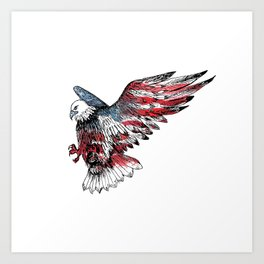 Watercolor bald eagle symbol of the United States Art Print