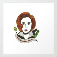 dana scully Art Prints featuring Dana Scully  by  Lady Grey