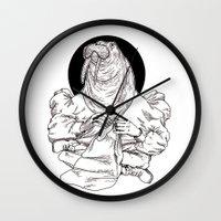 walrus Wall Clocks featuring Walrus by Hopler Art