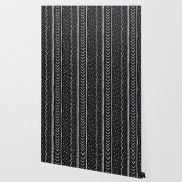 Moroccan Stripe in Black and White Wallpaper