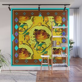 Yellow Rose Coffee Brown Western  Style Abstract Wall Mural