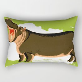 Vintage African Hippo Zoo Ad Rectangular Pillow