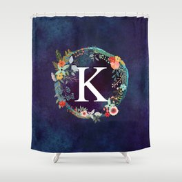 Personalized Monogram Initial Letter K Floral Wreath Artwork Shower Curtain