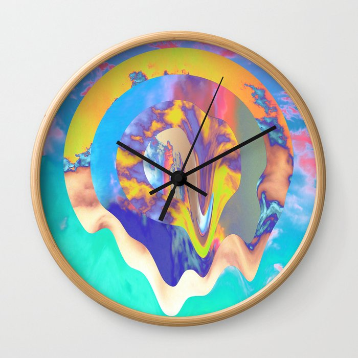Psychedelic Clouds Wall Clock