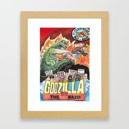 Godzilla vs The Nazis Framed Art Print