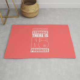 Lab No. 4 - Without Struggle There Is No Progress Gym Inspirational Quotes Poster Rug