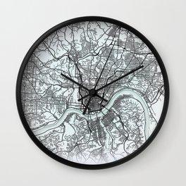Cincinnati, OH, USA, White, City, Map Wall Clock