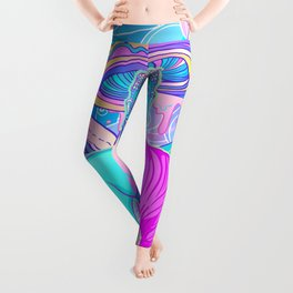 Sitting Buddha among psychedelic Mushrooms Leggings