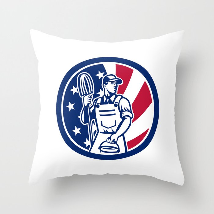 American Professional Cleaner USA Flag Icon Throw Pillow