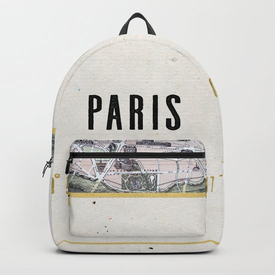 Vintage Paris Gold Foil Location Coordinates with historical map Backpack