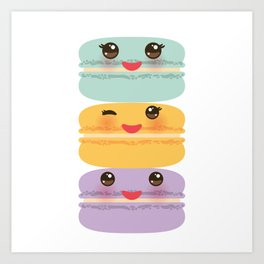 Kawaii macaroon funny orange blue lilac cookie with pink cheeks with pink cheeks and big eyes Art Print