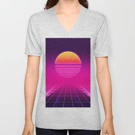 Futuristic space background Unisex V-Neck