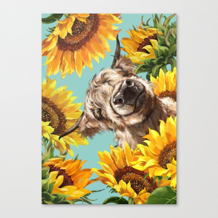 Highland Cow with Sunflowers in Blue Canvas Print