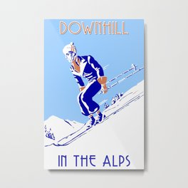 Downhill in the Alps Metal Print