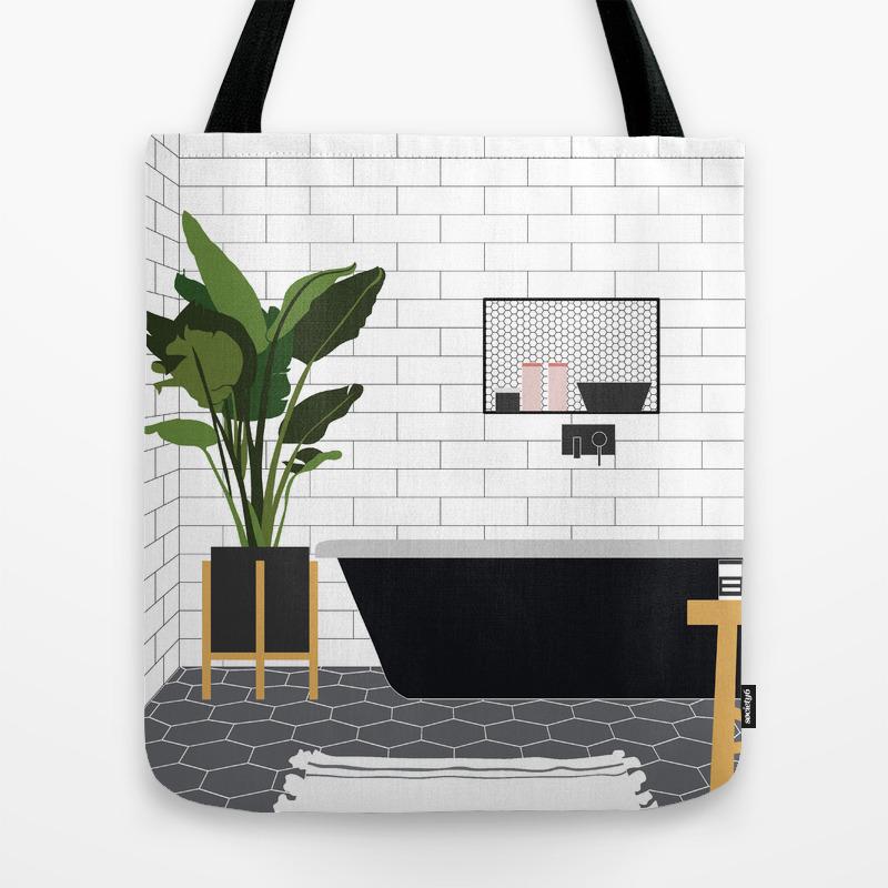 Minimal Bathroom Tote Bag By Millicentt