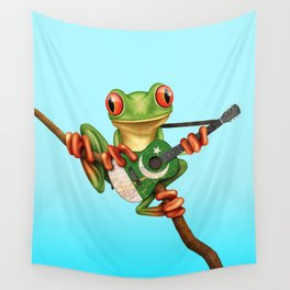 Tree Frog Playing Acoustic Guitar with Flag of Pakistan Wall Tapestry