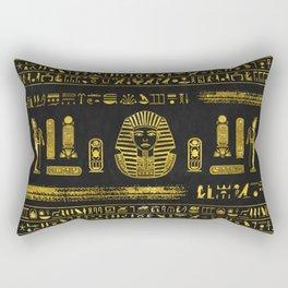 Golden Egyptian Sphinx on black leather Rectangular Pillow